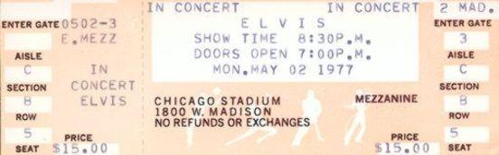 Elvis Concert Tickets 1977