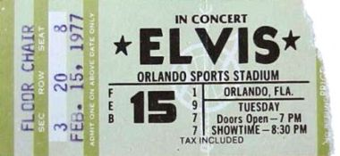 Elvis Concert Tickets 1977